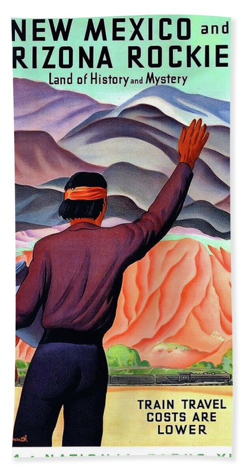 New Mexico Hand Towel featuring the painting New Mexico And Arizona Rockies by Long Shot