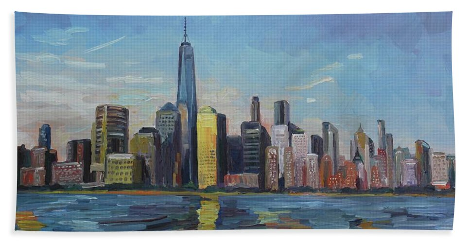 New York Hand Towel featuring the painting New York Skyline by John Kilduff