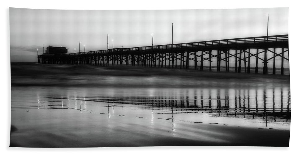Newport Beach Bath Sheet featuring the photograph Newport Beach Pier At Sunrise by Unsplash