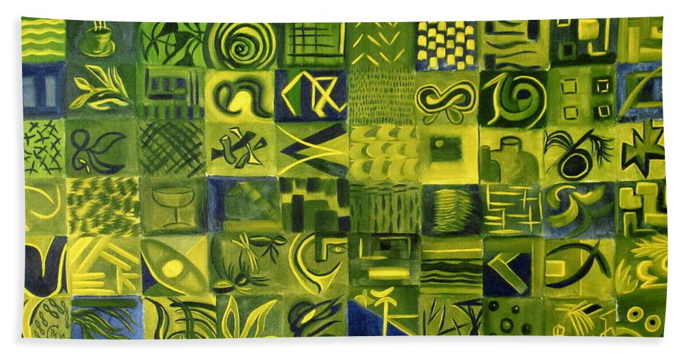 Green Bath Towel featuring the painting Night On The Lawn by Patricia Cleasby