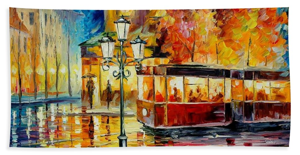 Afremov Bath Sheet featuring the painting Night Trolley by Leonid Afremov