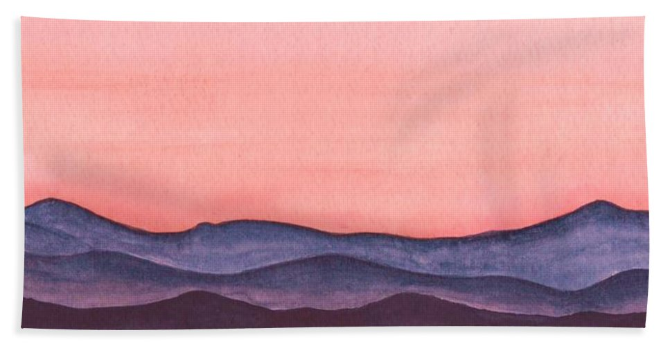 Watercolor Bath Sheet featuring the painting Nightfall Over The Hills by Brenda Owen