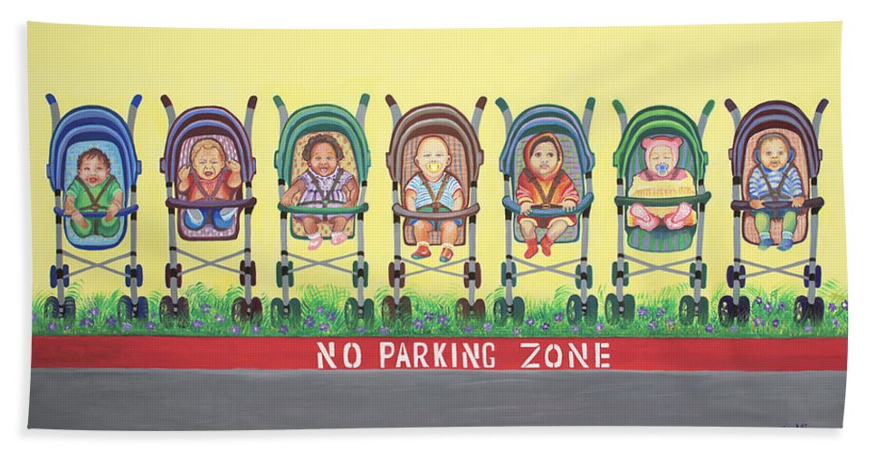 Children Hand Towel featuring the painting No Parking Zone by Kenji Lauren Tanner