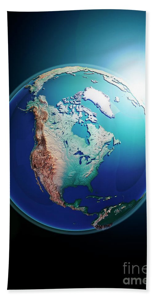 North America Bath Sheet featuring the digital art North America 3d Render Planet Earth Dark Space by Frank Ramspott
