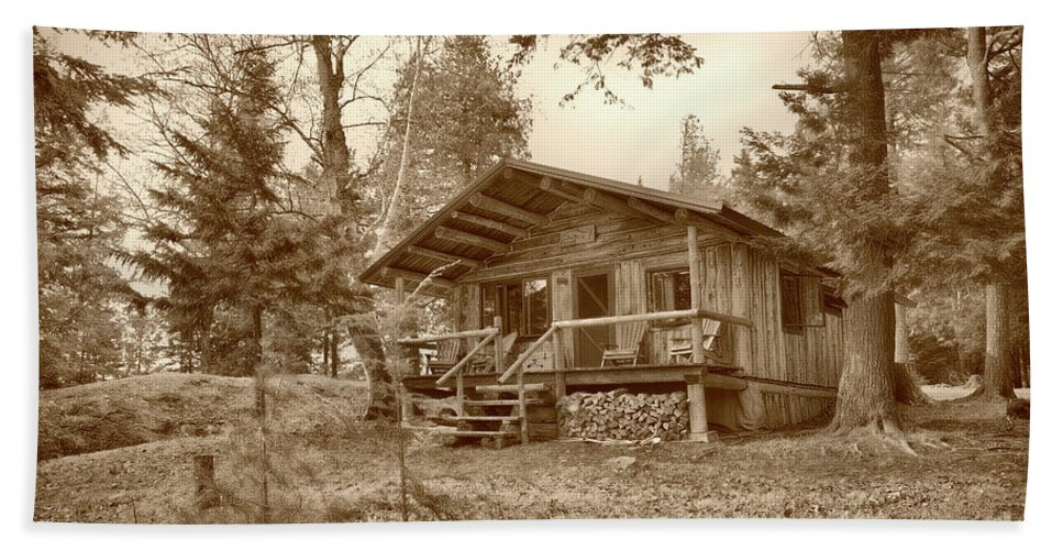 Scenic Tours Bath Sheet featuring the photograph North Maine Cabin by Skip Willits