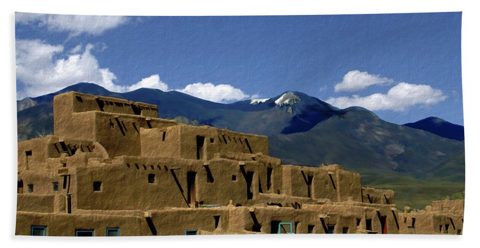 Taos Pueblo Bath Sheet featuring the photograph North Pueblo Taos by Kurt Van Wagner