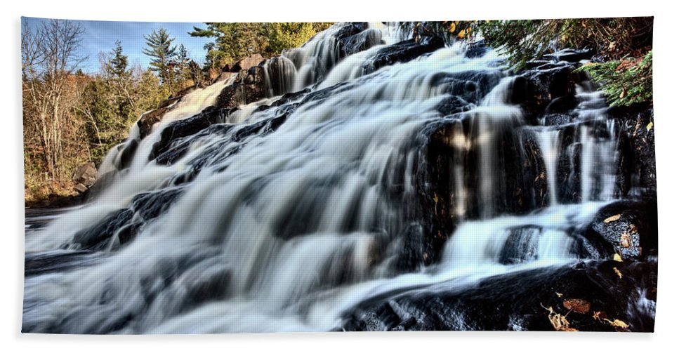 Waterfall Hand Towel featuring the digital art Northern Michigan Up Waterfalls Bond Falls by Mark Duffy