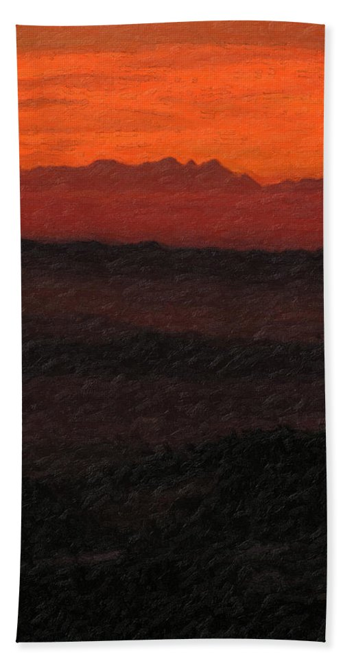 �not Quite Rothko� Collection By Serge Averbukh Bath Towel featuring the photograph Not quite Rothko - Blood Red Skies by Serge Averbukh