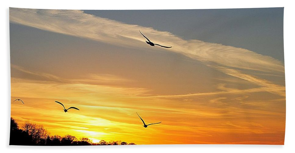 Lake Hand Towel featuring the photograph November Sunset by Frozen in Time Fine Art Photography