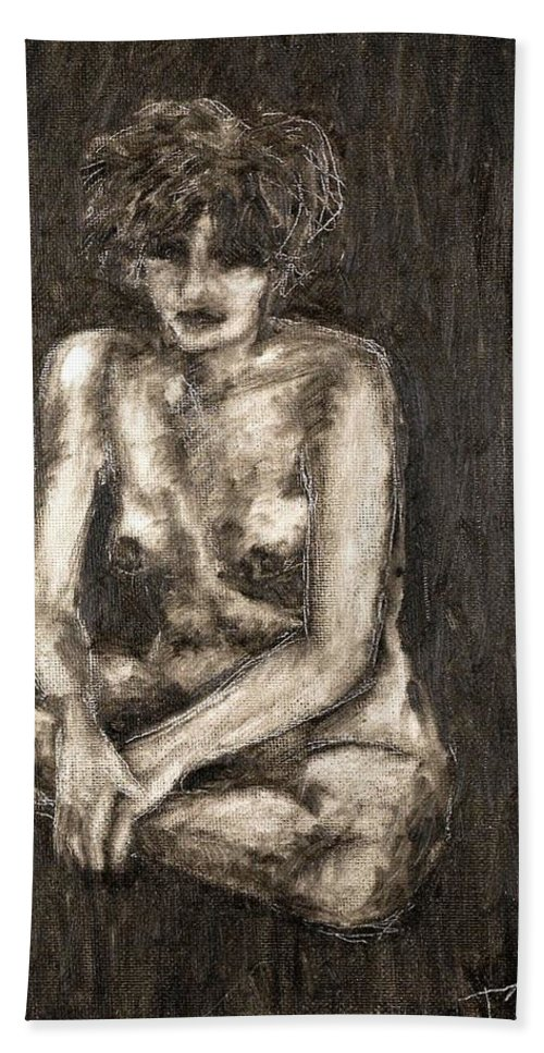 Clay Hand Towel featuring the painting Nude by Thomas Valentine