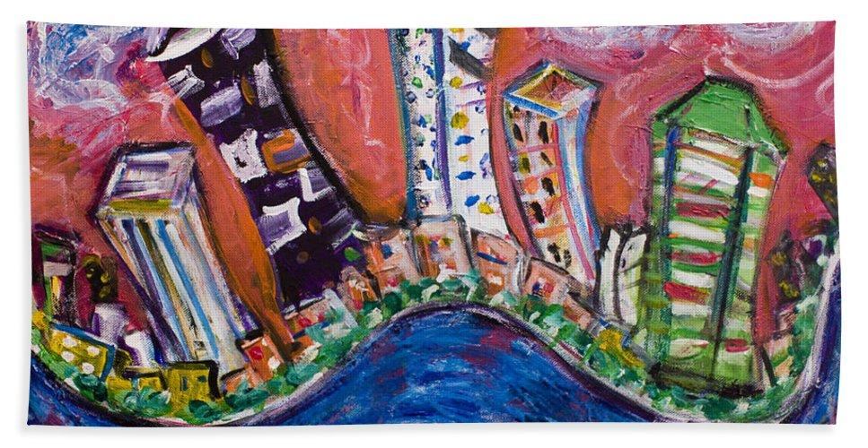 New York Skyline Manhattan Hand Towel featuring the painting Nyc Impressions 3 by Jason Gluskin