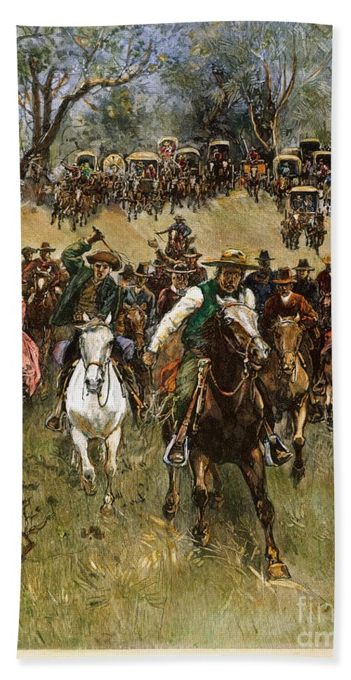1891 Hand Towel featuring the photograph Oklahoma Land Rush, 1891 by Granger