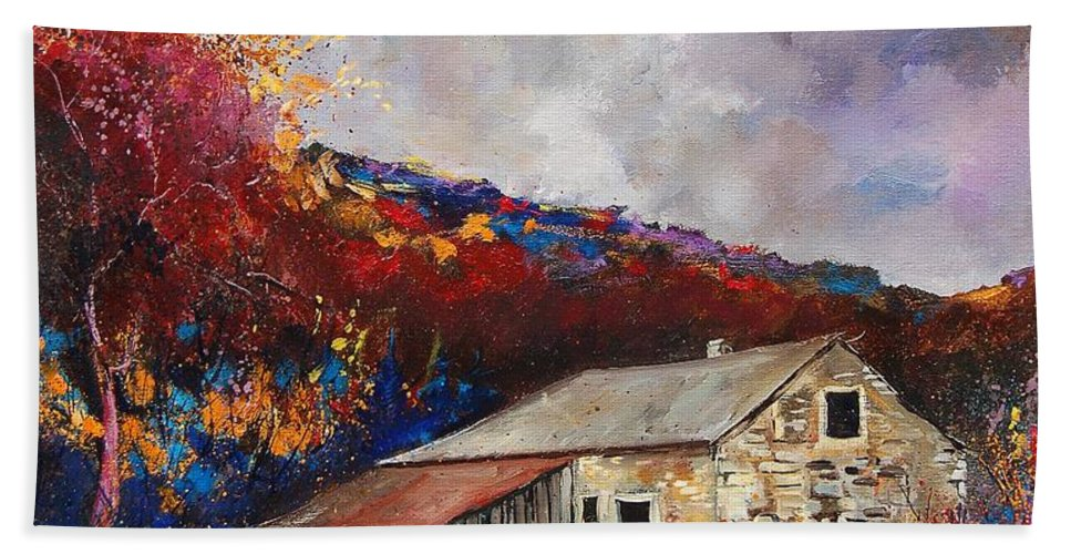Village Bath Towel featuring the painting Old barn by Pol Ledent