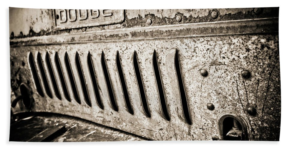 Car Bath Sheet featuring the photograph Old Dodge Grille by Marilyn Hunt