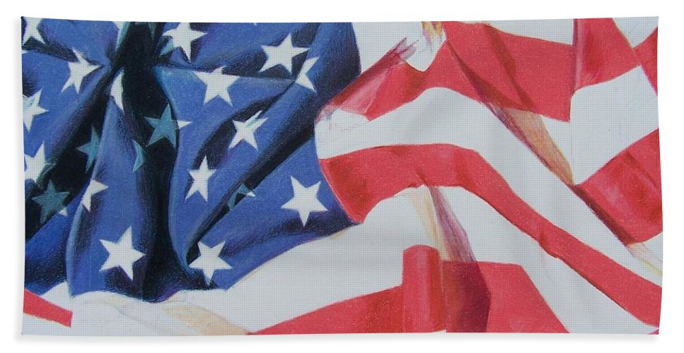 Flag Bath Sheet featuring the mixed media Old Glory by Constance Drescher