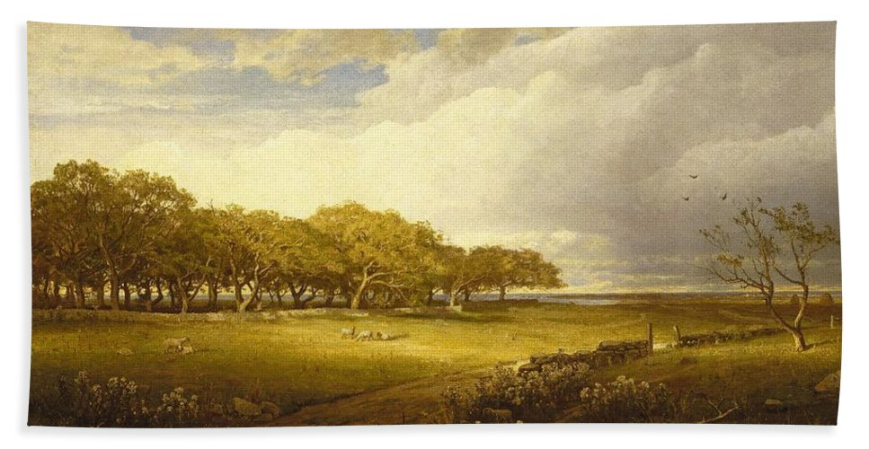 William Trost Richards (american Bath Sheet featuring the painting Old Orchard At Newport by William Trost Richards