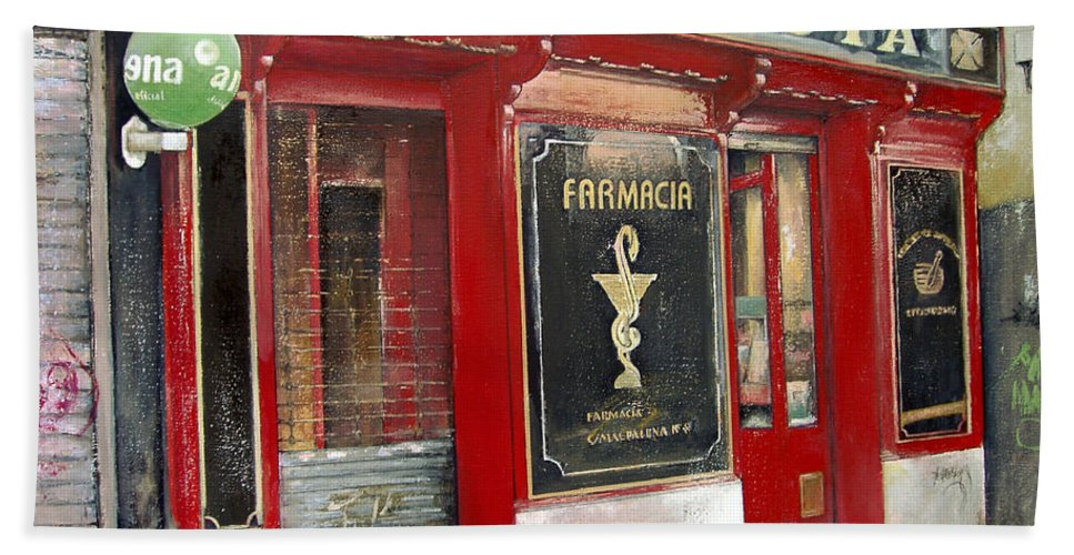 Farmacia Bath Towel featuring the painting Old Pharmacy by Tomas Castano