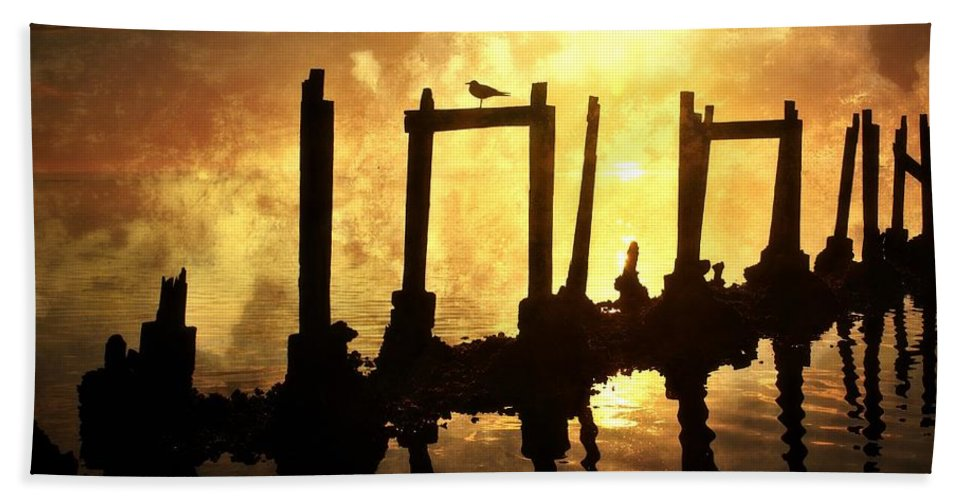Sunset Hand Towel featuring the photograph Old Pier At Sunset by Marty Koch