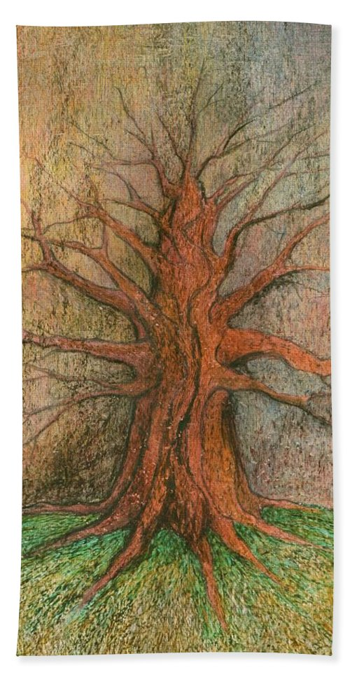 Colour Hand Towel featuring the painting Old Tree by Wojtek Kowalski