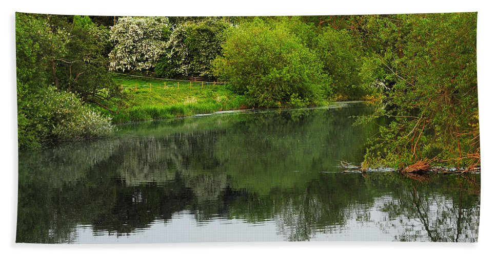 Countryside Bath Sheet featuring the photograph On The Lake by Svetlana Sewell