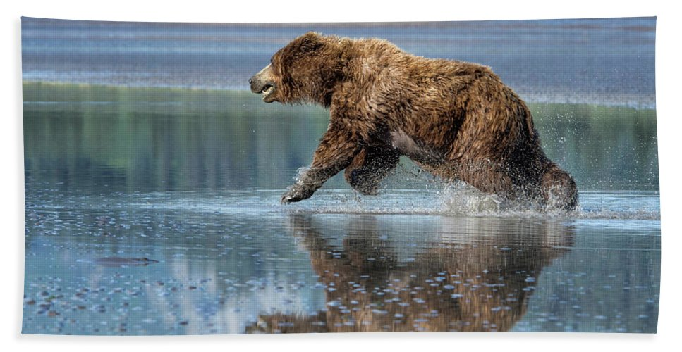 Grizzly Bear Bath Sheet featuring the photograph On The Run by Claudia Kuhn