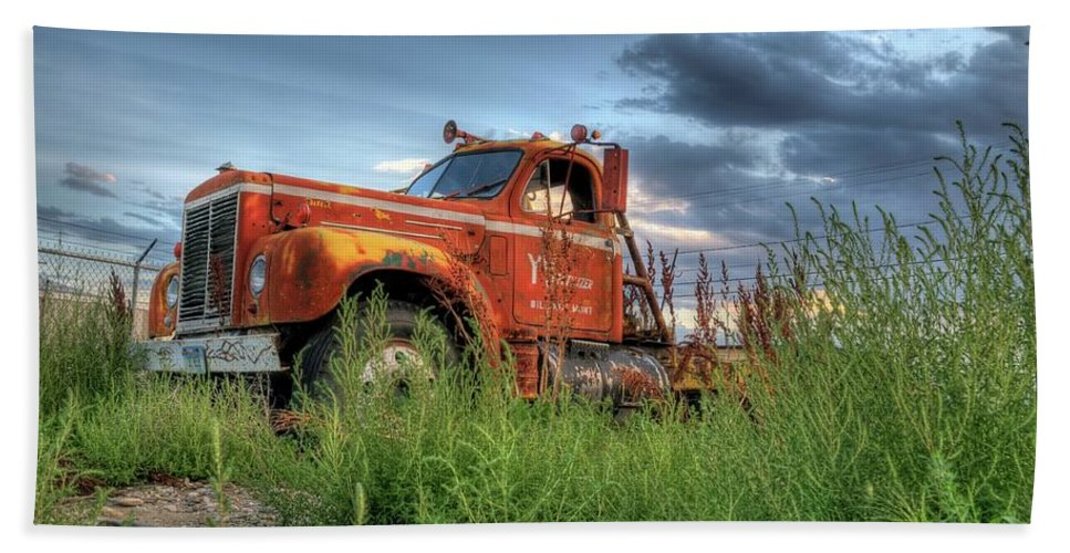 Truck Bath Towel featuring the photograph Orange Truck by Dave Rennie
