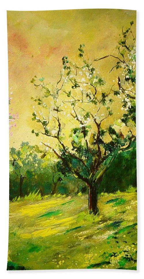 Spring Hand Towel featuring the painting Orchard 45 by Pol Ledent