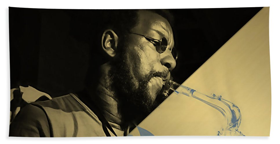 Ornette Coleman Bath Sheet featuring the mixed media Ornette Coleman Collection by Marvin Blaine