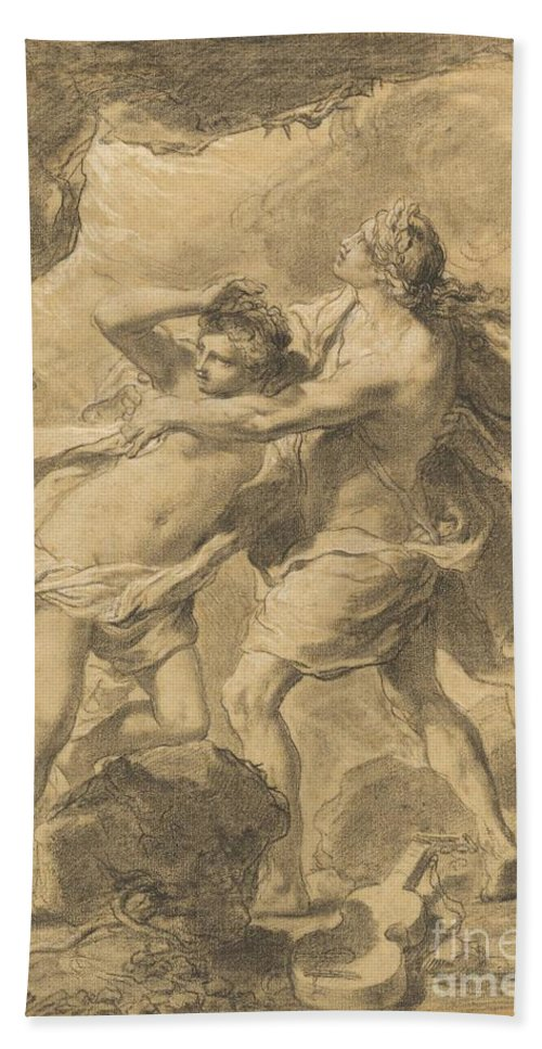 Hand Towel featuring the drawing Orpheus And Eurydice by Gaetano Gandolfi