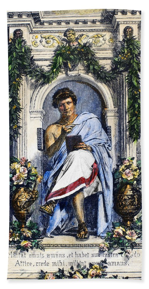 1st Century Hand Towel featuring the photograph Ovid (43 B.c.-c17 A.d.) by Granger
