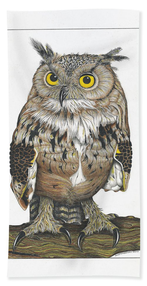 Owl Hand Towel featuring the drawing Owl In Pose by Bryan Austerberry