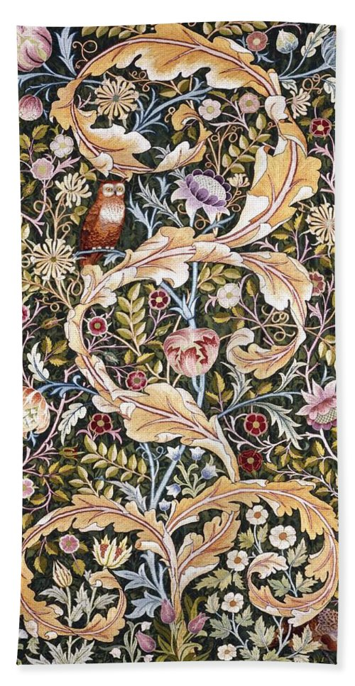 William Morris Bath Sheet featuring the painting Owl by William Morris