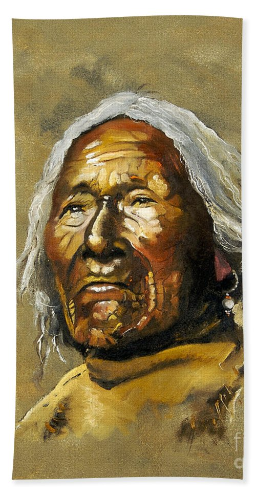 Southwest Art Bath Towel featuring the painting Painted sands of time by J W Baker