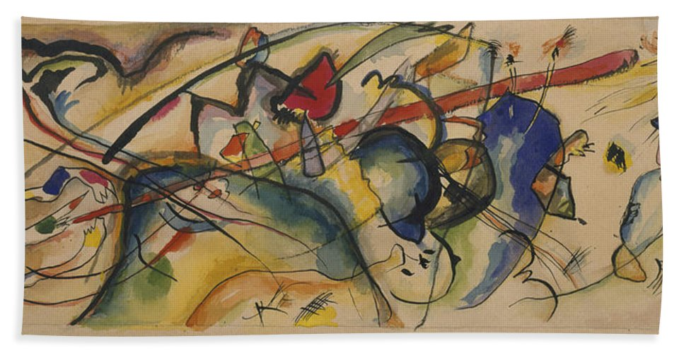 Watercolor After 'painting With White Border (moscow)' By Vassily Kandinsky Bath Sheet featuring the painting Painting With White Border by MotionAge Designs