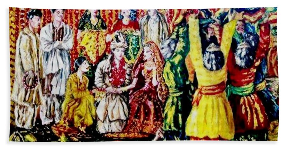 Oil Painting Bath Sheet featuring the painting Pakistani Wedding by Fareeha Khawaja