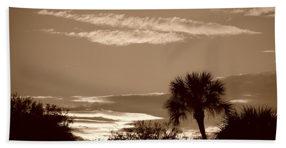 Sepia Bath Towel featuring the photograph Palms In The Clouds by Rob Hans