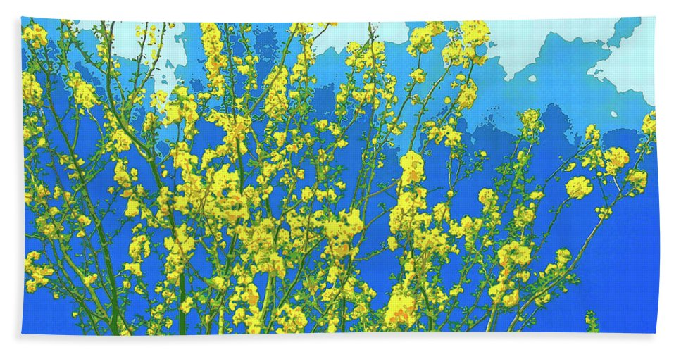 Palo Verde Hand Towel featuring the mixed media Palo Verde Spring by Dominic Piperata