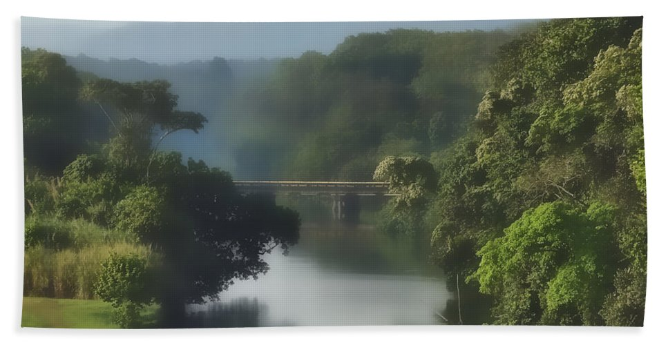 Canal Hand Towel featuring the photograph Panama014soft by Howard Stapleton