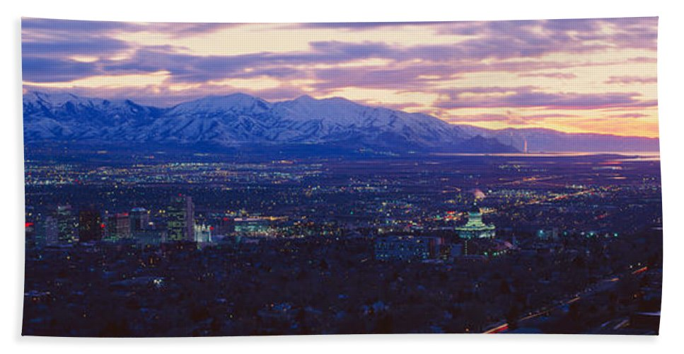 Photography Hand Towel featuring the photograph Panoramic Sunset Of Salt Lake City by Panoramic Images