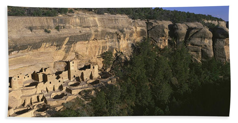 Photography Hand Towel featuring the photograph Panoramic View Of Cliff Palace Cliff by Panoramic Images