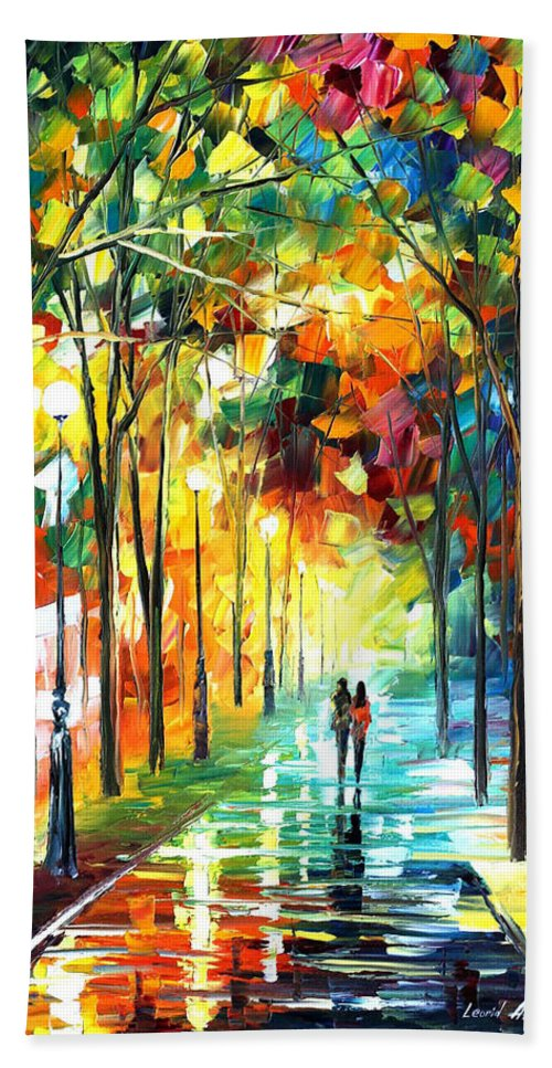 Landscape Bath Sheet featuring the painting Park by Leonid Afremov