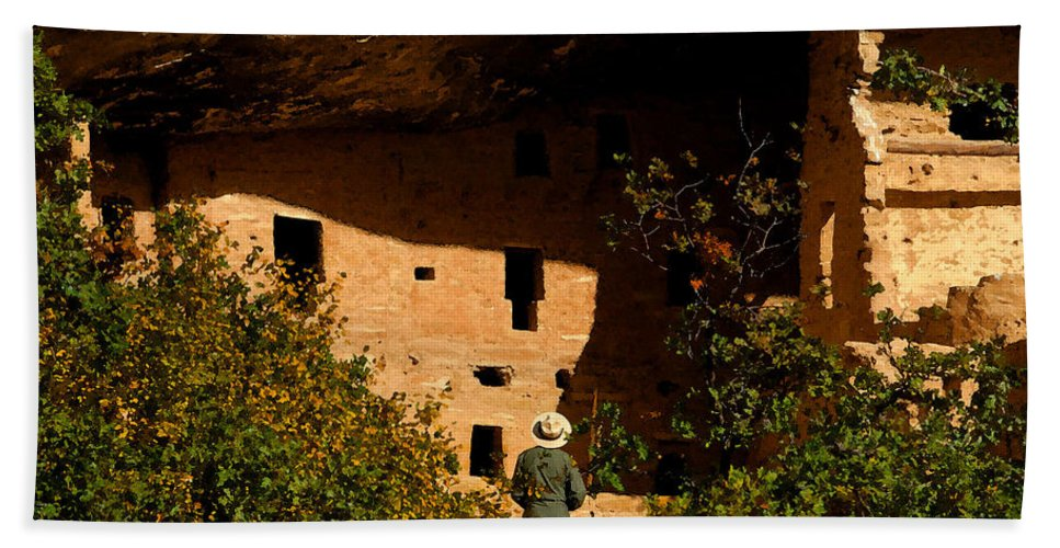 Mesa Verde National Park Colorado Bath Sheet featuring the painting Park Ranger by David Lee Thompson