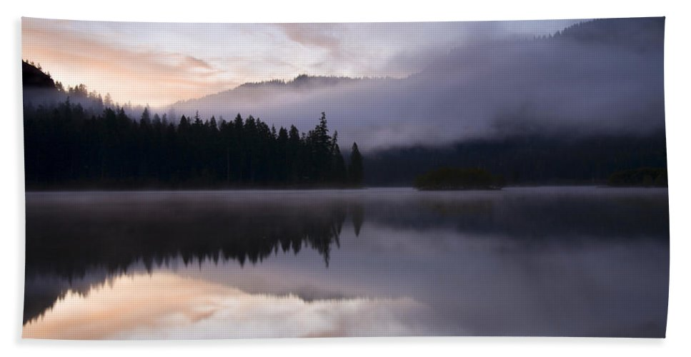 Fog Hand Towel featuring the photograph Pastel Dawn by Mike Dawson