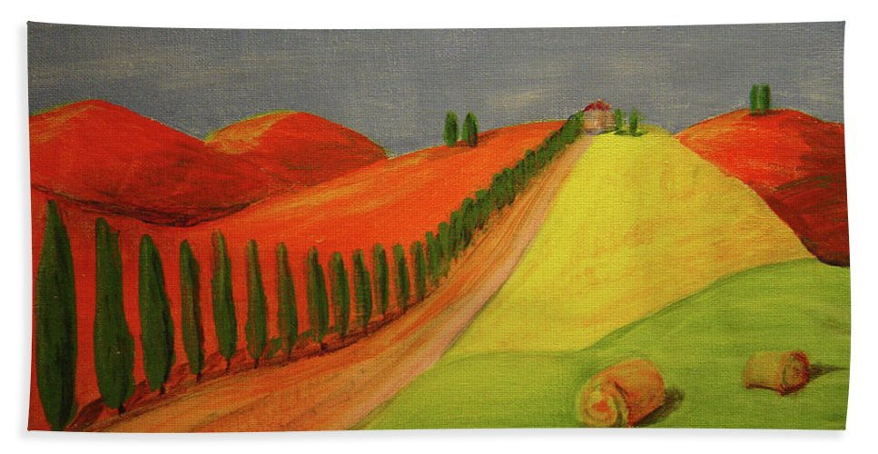 Tuscan Bath Sheet featuring the painting Path by Lilibeth Andre