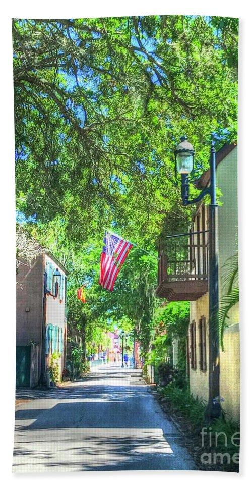 Flag Bath Sheet featuring the photograph Patriotic Street by Debbi Granruth