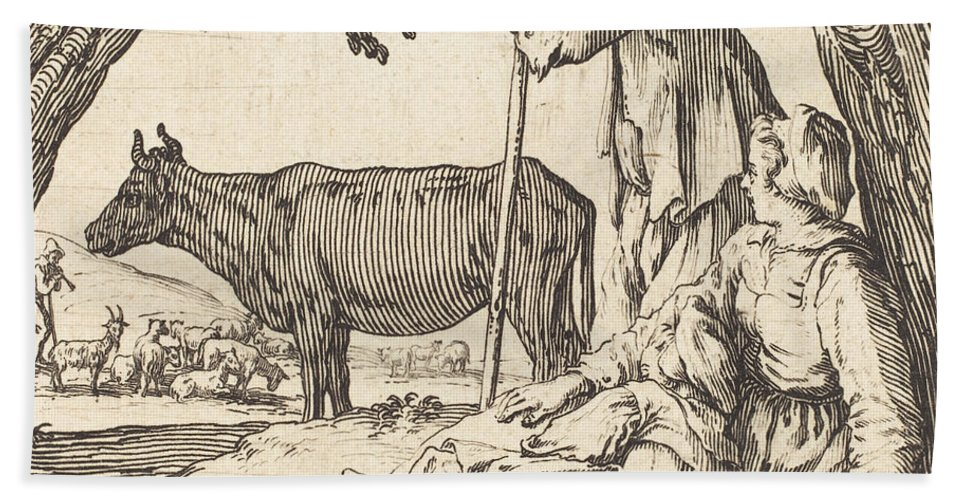 Hand Towel featuring the drawing Peasant Couple With Cow by Jacques Callot