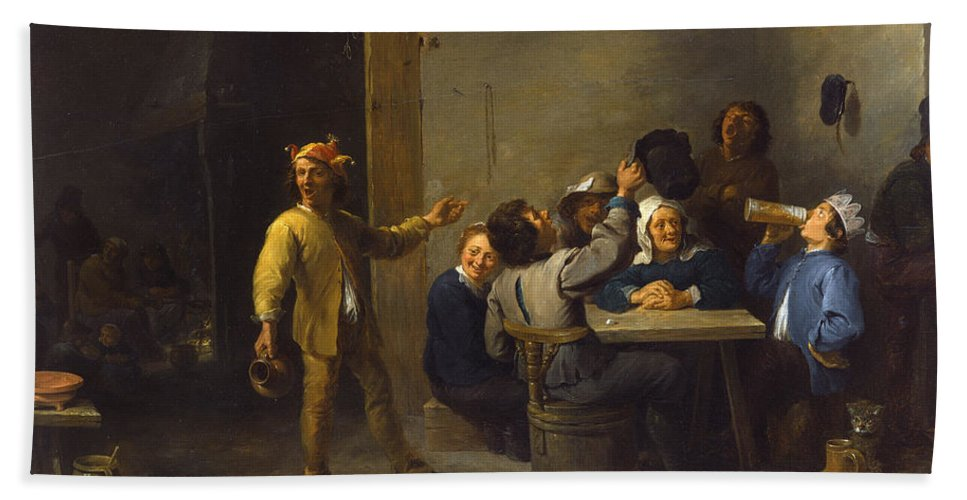 Animal Hand Towel featuring the painting Peasants Celebrating Twelfth Night by David Teniers the Younger