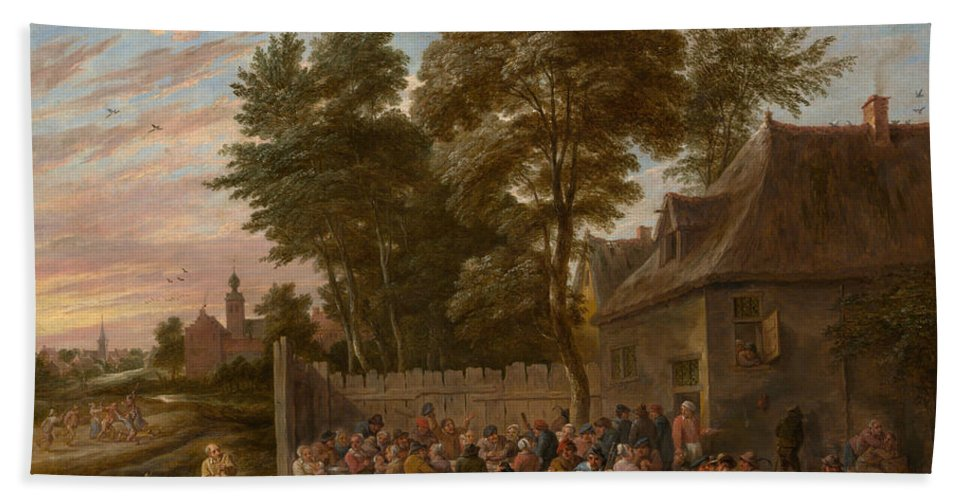 Animal Hand Towel featuring the painting Peasants Dancing And Feasting by David Teniers the Younger