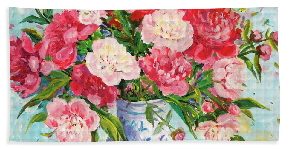 Flowers Hand Towel featuring the painting Peonies by Ingrid Dohm