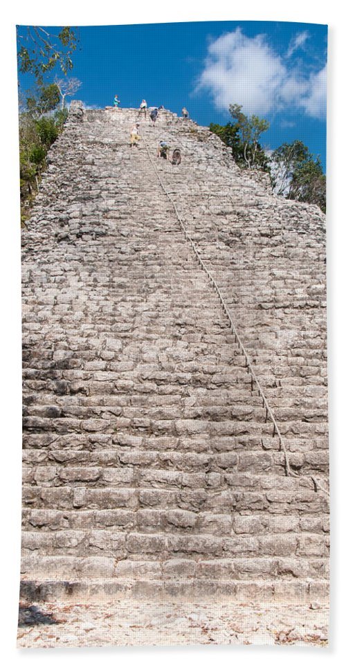 Mexico Quintana Roo Bath Sheet featuring the digital art People Climbing Nohoch Mul At The Coba Ruins by Carol Ailles